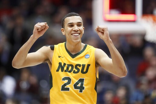 (AP Photo/John Minchillo). North Dakota State's Tyson Ward reacts after the team's win over North Carolina Central in a First Four game of the NCAA men's college basketball tournament Wednesday, March 20, 2019, in Dayton, Ohio.