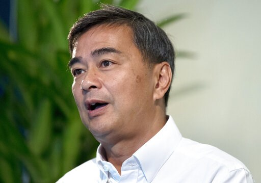 (AP Photo/Sakchai Lalit). The leader of Thailand's Democrat Party Abhisit Vejjajiva talks to The Associated Press during an interview Wednesday, March 20, 2019. in Bangkok, Thailand. Abhisit says if he becomes prime minister after Sunday's election, he...