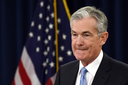 (AP Photo/Susan Walsh). Federal Reserve Chair Jerome Powell listens to a reporter's question during a news conference in Washington, Wednesday, March 20, 2019.
