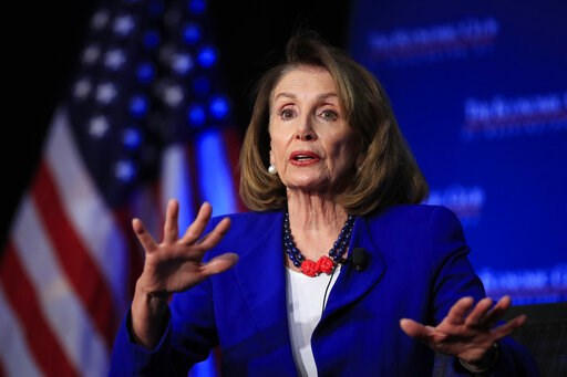 (AP Photo/Manuel Balce Ceneta, File). FILE - In this Friday, March 8, 2019 file photo, House Speaker Nancy Pelosi of Calif., speaks at an Economic Club of Washington luncheon gathering in Washington. The day after Democrats swept to power, Speaker-to-b...