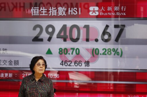 (AP Photo/Kin Cheung). A woman stands in front of an electronic board showing Hong Kong share index outside a bank in Hong Kong, Thursday, March 21, 2019. Shares in Asia are mostly higher after the Federal Reserve said it has ruled out interest rate in...