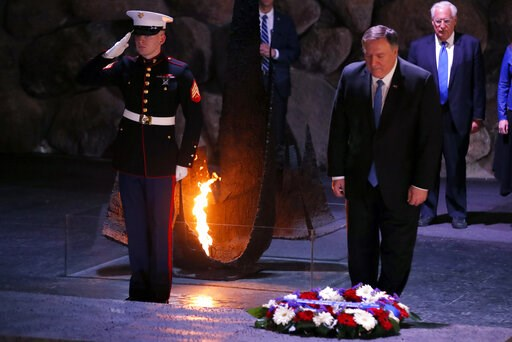 (Jim Young/Pool Image via AP). U.S. Secretary of State Mike Pompeo takes part in a wreath-laying ceremony commemorating the six million Jews killed by the Nazis in the Holocaust, in the Hall of Remembrance at Yad Vashem World Holocaust Remembrance Cent...