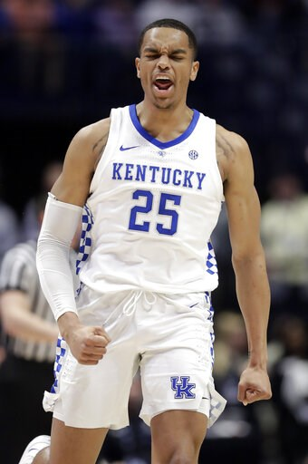 (AP Photo/Mark Humphrey). Kentucky forward PJ Washington celebrates after a score against Alabama in the first half of an NCAA college basketball game at the Southeastern Conference tournament Friday, March 15, 2019, in Nashville, Tenn.