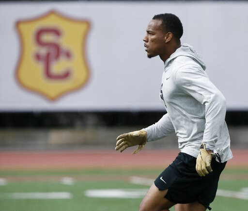 (AP Photo/Alex Gallardo). Southern California cornerback Iman Marshall runs through a drill during USC Pro Day, Wednesday, March 19, 2019, in Los Angeles. The Pro Day is intended to showcase talent to NFL scouts for the upcoming draft.