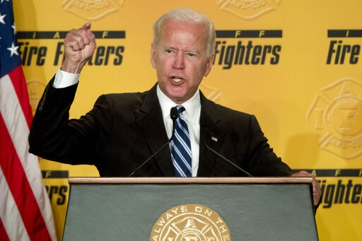 (AP Photo/Andrew Harnik). FILE - In this March 12, 2019 photo, former Vice President Joe Biden speaks to the International Association of Firefighters at the Hyatt Regency on Capitol Hill in Washington. As the former vice president inches closer toward...