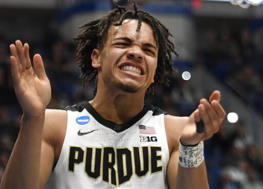 (AP Photo/Jessica Hill). Purdue's Carsen Edwards reacts during the second half of a first round men's college basketball game against Old Dominion in the NCAA tournament, Thursday, March 21, 2019, in Hartford, Conn.