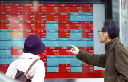 (AP Photo/Eugene Hoshiko). A man and a woman look at an electronic stock board showing Japan's Nikkei 225 index at a securities firm in Tokyo Friday, March 22, 2019. Asian markets were mostly lower on Friday as investors mulled over the possibility of ...