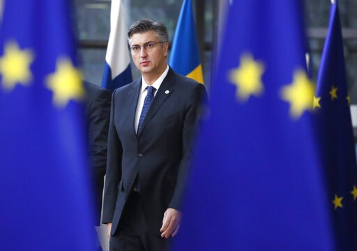 (AP Photo/Frank Augstein). Croatian Prime Minister Andrej Plenkovic arrives for an EU summit in Brussels, Friday, March 22, 2019. European Union leaders gathered again Friday after deciding that the political crisis in Britain over Brexit poses too gre...