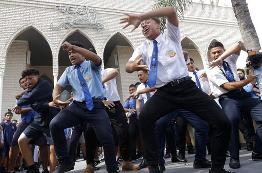 (AP Photo/Rick Rycroft). Students from Punchbowl Boys High School perform the New Zealand Maori tradition dance called a haka after Friday prayers at Imam Ali bin Abi Taleb Mosque in Sydney, Australia, Friday, March 22, 2019. The performance is to show...