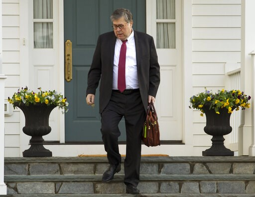 (AP Photo/Jose Luis Magana). Attorney General William Barr leaves his home in McLean, Va., on Friday, March 22, 2019. Special Counsel Robert Mueller is expected to present a report to the Justice Department any day now outlining the findings of his nea...