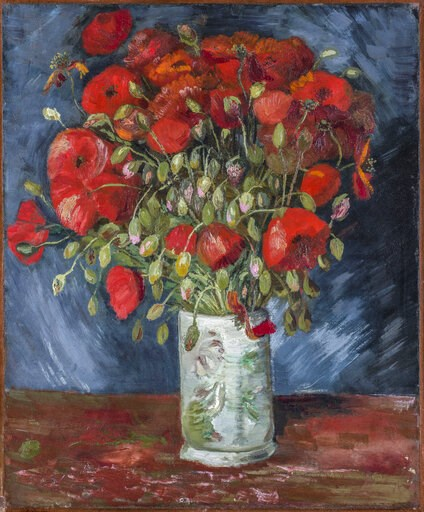 (Wadsworth Atheneum Museum of Art via AP). This undated photo provided by the Wadsworth Atheneum Museum of Art shows a painting of poppies, oil on canvas. The painting at the Connecticut museum that has long been thought to be by Vincent Van Gogh has b...