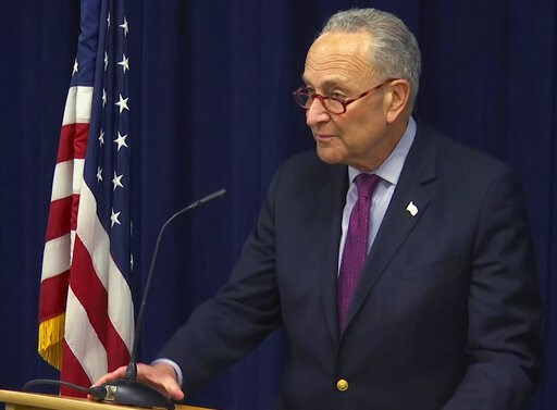 (AP Photo/David R. Martin). In this image made from video, Sen. Charles Schumer, D-NY, addresses the media in New York, Friday, March 22, 2019. Schumer called the news conference after special counsel Robert Mueller released the final report on the Rus...