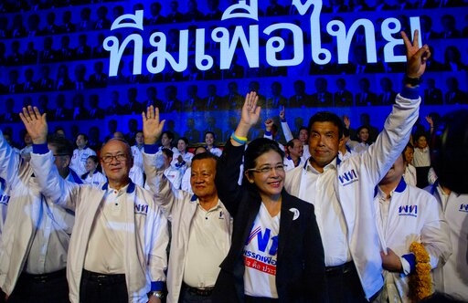 (AP Photo/Gemunu Amarasinghe). The leader of Pheu Thai Party and candidate for prime minister Sudarat Keyuraphan, second right, and contestants wave during an election rally of general elections in Bangkok, Thailand, Friday, March 22, 2019. The nation'...