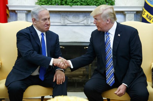 (AP Photo/Evan Vucci, File). FILE - In this March 5, 2018, file photo, President Donald Trump meets with Israeli Prime Minister Benjamin Netanyahu in the Oval Office of the White House in Washington. Trump and Netanyahu have had a mutually beneficial r...