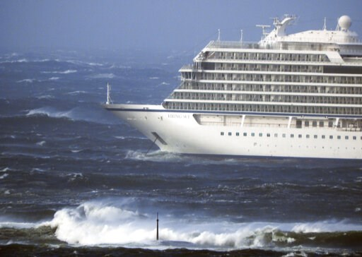 (Frank Einar Vatne / NTB scanpix via AP). The cruise ship Viking Sky lays at anchor in heavy seas, after it sent out a Mayday signal because of engine failure in windy conditions, near Hustadvika, off the west coast of Norway, Saturday March 23, 2019. ...