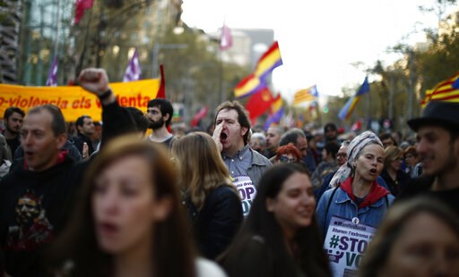 (AP Photo/Manu Fernandez). People shout slogans during a protest against the emergence of a far right party in Spain ahead of next month's national elections in Barcelona, Spain, Saturday, March 23, 2019. Spain hadn't had a far-right party for years un...