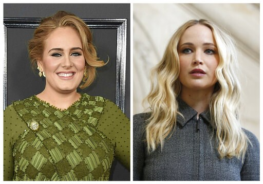 (AP Photo, File). This combination photo shows singer Adele at the 59th annual Grammy Awards in Los Angeles on Feb. 12, 2017, left, and actress Jennifer Lawrence at the Dior ready to wear Fall-Winter 2019-2020 collection in Paris on Feb. 26, 2019. Patr...