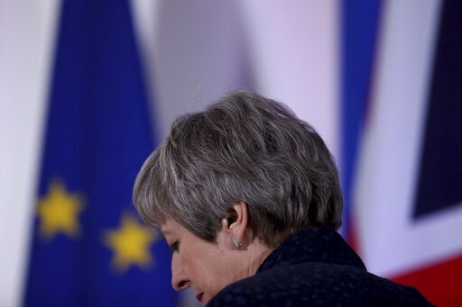 (AP Photo/Francisco Seco). British Prime Minister Theresa May leaves after addressing a media conference at an EU summit in Brussels, Friday, March 22, 2019. Worn down by three years of indecision in London, EU leaders on Thursday were grudgingly leani...