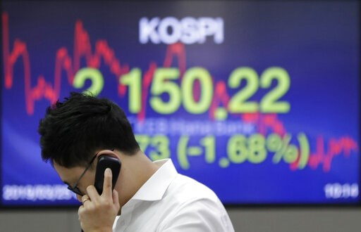 (AP Photo/Lee Jin-man). A currency trader talks on the phone near the screen showing the Korea Composite Stock Price Index (KOSPI) at the foreign exchange dealing room in Seoul, South Korea, Monday, March 25, 2019. Shares were sharply lower in Asia on ...