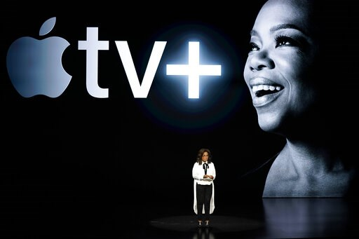 (AP Photo/Tony Avelar). Oprah Winfrey speaks at the Steve Jobs Theater during an event to announce new Apple products Monday, March 25, 2019, in Cupertino, Calif.