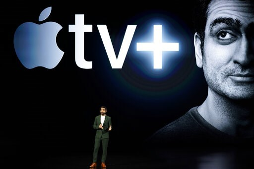 (AP Photo/Tony Avelar). Kumail Nanjiani speaks at the Steve Jobs Theater during an event to announce new Apple products Monday, March 25, 2019, in Cupertino, Calif.
