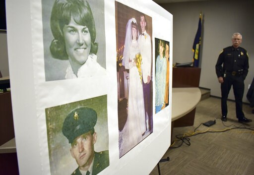 (AP Photo/Matthew Brown). Photos of Linda and Clifford Bernhardt, who were killed in 1973, are displayed at a press conference at the Yellowstone County administrative offices in Billings, Montana on Monday, March 25, 2019. Yellowstone County Sheriff M...