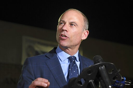 (AP Photo/Michael Owen Baker, File). FILE - In this Nov. 14, 2018, file photo, Michael Avenatti speaks to the media outside the Los Angeles Police Department Pacific Division after posting bail for a felony domestic violence charge. U.S. prosecutors an...