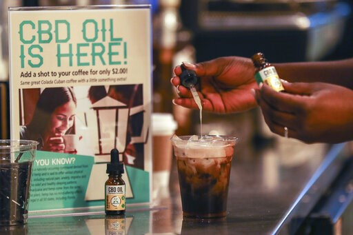 (Jennifer Lett/South Florida Sun-Sentinel via AP)/South Florida Sun-Sentinel via AP). FILE - In this Friday, Jan. 4, 2018 file photo, a worker adds CBD oil to a drink at a coffee shot in Fort Lauderdale, Fla. Cannabidiol is one of more than 100 compoun...