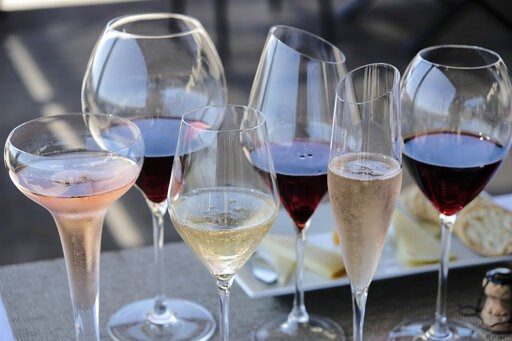 (AP Photo/Eric Risberg). FILE - This Monday, July 10, 2017 file photo shows different shaped glasses of wine in Sonoma, Calif. According to a large genetic study released on Thursday, April 4, 2019,  drinking alcohol raises the risk of high blood press...