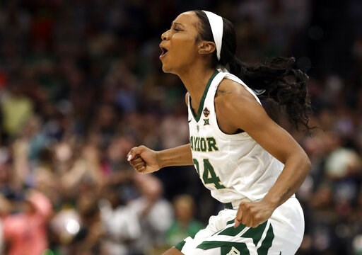 (AP Photo/Chris O'Meara). Baylor guard Chloe Jackson cheers during the second half against Notre Dame the Final Four championship game of the NCAA women's college basketball tournament Sunday, April 7, 2019, in Tampa, Fla. Baylor defeated Notre Dame 82...