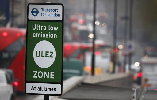 (AP Photo/Frank Augstein). Cars enter the new Ultra Low Emission Zone that has come into force Monday, in London, Monday, April 8, 2019, one of the world's first emission charge for cars. Drivers of older and more polluting cars face paying a new £12.5...