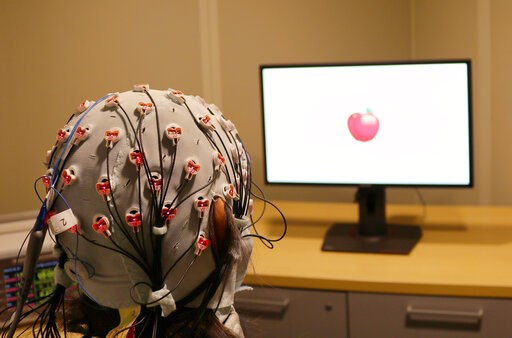 (Rob Reinhart/Boston University via AP). This Friday, April 5, 2019 photo provided by Boston University shows a cap that administers electrical stimulation and monitors brain waves for a visual working memory test at one of the school's laboratories. A...