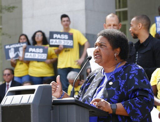 (AP Photo/Rich Pedroncelli). Assemblywoman Shirley Weber, D-San Diego, discusses her proposed measure to limit the use of deadly force by police during a rally at the Capitol, Monday, April 8, 2019, in Sacramento, Calif. Weber's bill, AB392, would requ...