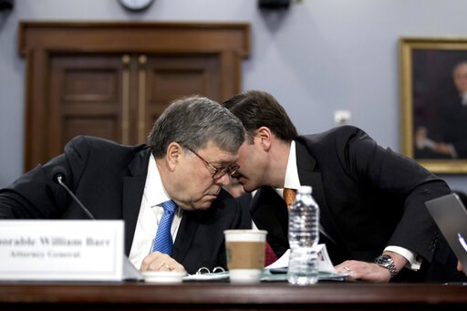 (AP Photo/Andrew Harnik). In his first appearance on Capitol Hill since taking office, and amid intense speculation over his review of special counsel Robert Mueller's Russia report, Attorney General William Barr, left, speaks with an aide as he appear...