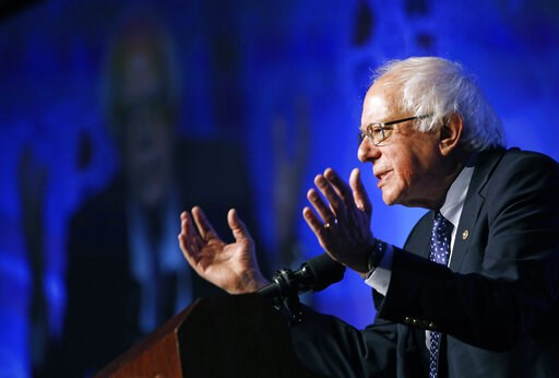 (AP Photo/John Locher). FILE - In this April 8, 2019, photo, Democratic presidential candidate Sen. Bernie Sanders, I-Vt., speaks at a convention of the International Association of Machinists and Aerospace Workers in Las Vegas. Sanders is set to unvei...