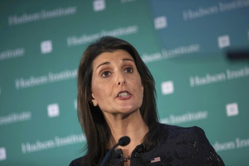 (AP Photo/Kevin Hagen, File). FILE - In this Dec. 3, 2018 file photo, U.S. Ambassador Nikki Haley speaks during the Hudson Institute's 2018 Award Gala in New York. St. Martin's Press announced Wednesday, April 10, 2019, that Haley's book, currently unt...