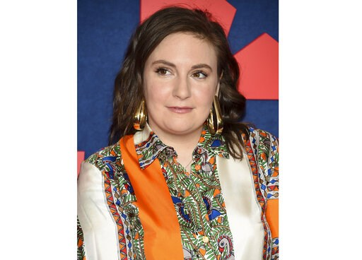 "(Photo by Evan Agostini/Invision/AP, File). FILE - This March 26, 2019 file photo shows actress Lena Dunham at the premiere of the final season of HBO's ""Veep"" in New York. Dunham is celebrating one year of sobriety. Featuring a thumbs-up photo, the 32..."
