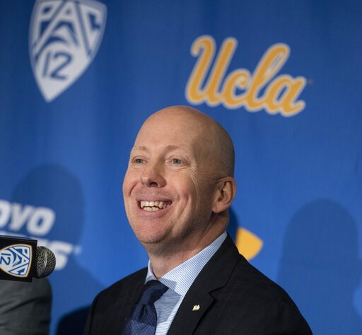 (Brian van der Brug/Los Angeles Times via AP). UCLA basketball coach Mick Cronin speaks during a press conference, Wednesday, April 10, 2019 in Westwood, Calif. Mick Cronin has been hired as UCLA's basketball coach, ending a months-long search to find ...