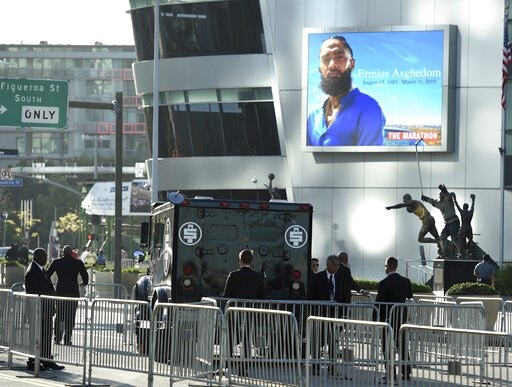 (Photo by Chris Pizzello/Invision/AP). An armored vehicle belonging to the late rapper Nipsey Hussle, whose given name was Ermias Asghedom, appears at the Celebration of Life memorial service on Thursday, April 11, 2019, at the Staples Center in Los An...