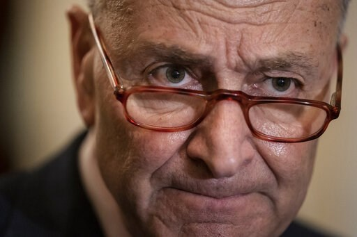 (AP Photo/J. Scott Applewhite). Senate Minority Leader Chuck Schumer, D-N.Y., speaks to reporters at the Capitol in Washington, Tuesday, April 9, 2019.
