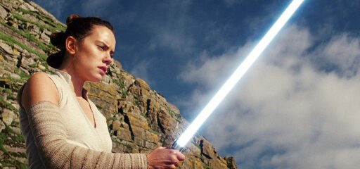 "(Lucasfilm via AP). This image released by Lucasfilm shows Daisy Ridley as Rey in ""Star Wars: The Last Jedi."" The Skywalker saga may be coming to an end this December as the latest Star Wars trilogy finishes, but 8 months out from its release fans stil..."