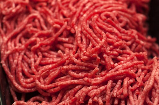(AP Photo/J. Scott Applewhite). FILE - In this Saturday, April 1, 2017 file photo, ground beef is displayed for sale at a market in Washington. On Friday, April 12, 2019, the Centers for Disease Control and Prevention said ground beef is the likely sou...