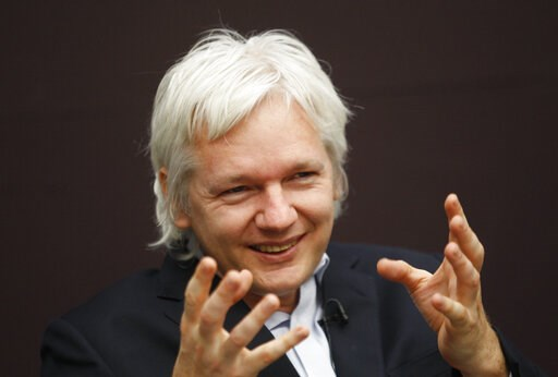 (AP Photo/Lefteris Pitarakis, File). FILE - In this Dec. 1, 2011, file photo, WikiLeaks founder Julian Assange gestures as he speaks during a news conference in central London. The arrest of Assange reignites a debate with no easy answer: Is the former...