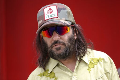"(AP Photo/Damian Dovarganes). Los Angeles artist Erik Brunetti, the founder of the streetwear clothing company ""FUCT,"" poses for a photo in Los Angeles Thursday, April, 11, 2019. ""We wanted the viewer to question it: Like, is that pronounced the way I ..."