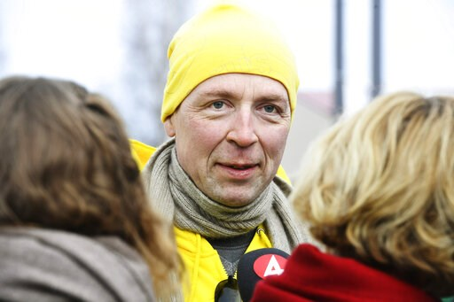 (Heikki Saukkomaa/Lehtikuva via AP). Chairman of the Finns Party Jussi Halla-aho campaigns for the Finnish parliamentary elections in Tuusula, Finland, Saturday, April 13, 2019, a day ahead of the elections.