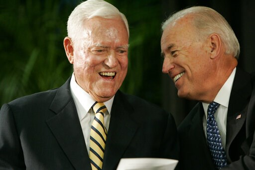 (AP Photo/Mary Ann Chastain, File). FILE - In this Friday, July 23, 2010, file photo, Vice President Joe Biden chats with former U.S. Sen. Ernest Fritz Hollings during the dedication ceremony of the new Ernest F. Hollings Special Collections Library in...