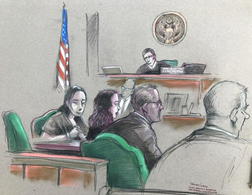 (Daniel Pontet via AP). In this artist sketch, a Chinese woman, Yujing Zhang, left, listens to a hearing Monday, April 8, 2019, before federal Magistrate Judge William Matthewman in West Palm Beach, Fla. Secret Service agents arrested the 32-year-old w...