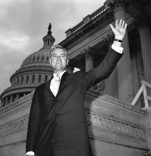 (AP Photo/Henry Griffin, File). FILE - In this Nov. 10, 1966 file photo, Senator-elect Ernest Hollings, D-S.C., poses in front of the Capitol in Washington. Hollings, a moderate six-term Democrat who made an unsuccessful bid for the presidency in 1984,...