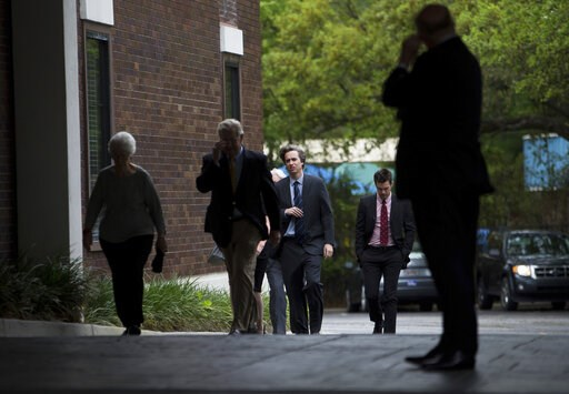 """(Andrew J. Whitaker/The Post And Courier via AP). Friends and loved ones pay their respects during a visitation for former U.S. senator and South Carolina Gov. Ernest Frederick """"Fritz"""" Hollings at James A. McAlister Funerals and Cremation, Sunday, Apri..."""