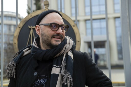 (AP Photo/Pavel Golovkin). Russian theatre and film director Kirill Serebrennikov speaks to the media after a court hearing in Moscow, Russia, Monday, April 8, 2019. The Moscow City Court on Monday overturned a district court's decision to extend house...